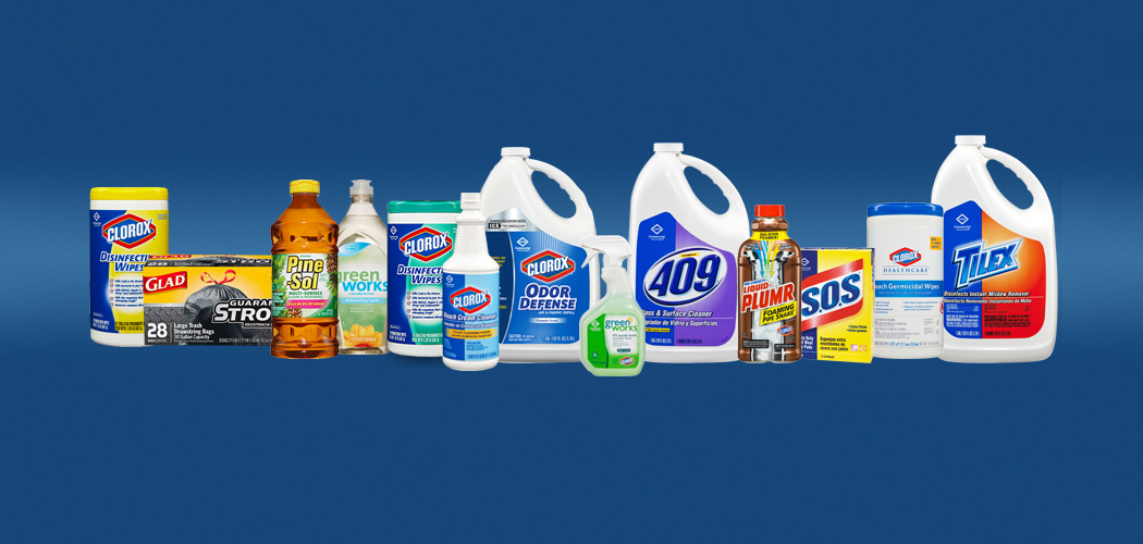 A Clorox product line including Glad, 4009, Pine-Sol, S.O.S., Tilex, Liquid Plumber, and Green Works